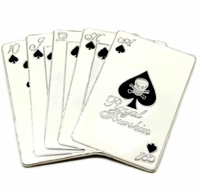 Hebilla de Cinturón - Negro e Blanco Cráneo Temático Carta de Juego