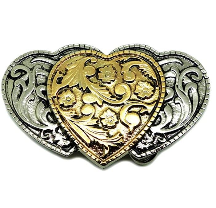 3 Corazones Hebilla de Cinturón - Diseño Floral Americana Occidental