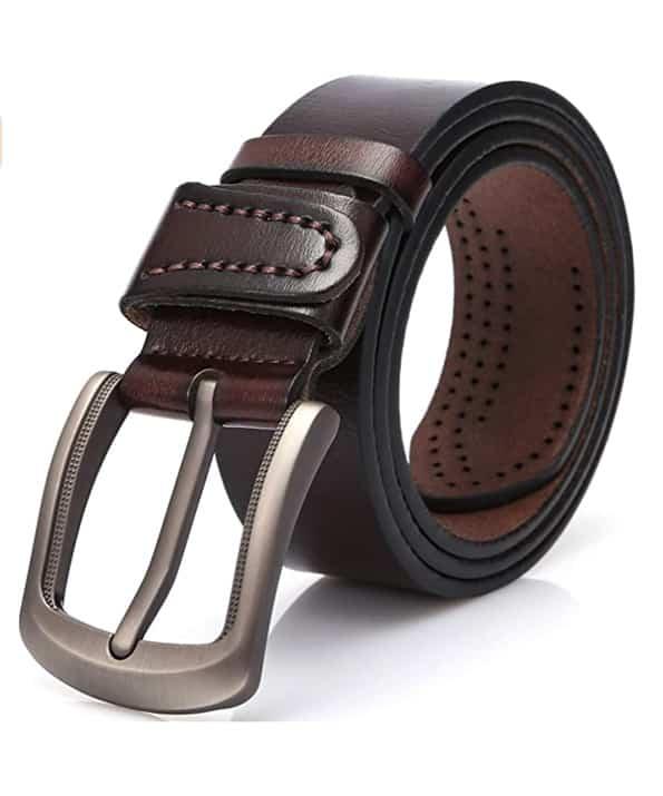 Cinturón de Cuero 100% Genuino para Hombres, Adecuado para Uso Informal