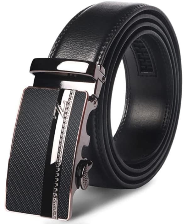 Cinturones Piel Automática Con Hebilla Trinquete Plateada