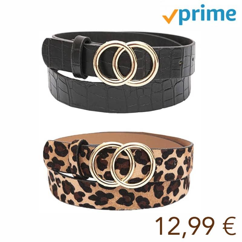 Cinturón de hebilla redonda de Doble,2 pcs Cinturón de mujer sencillo y de Moda